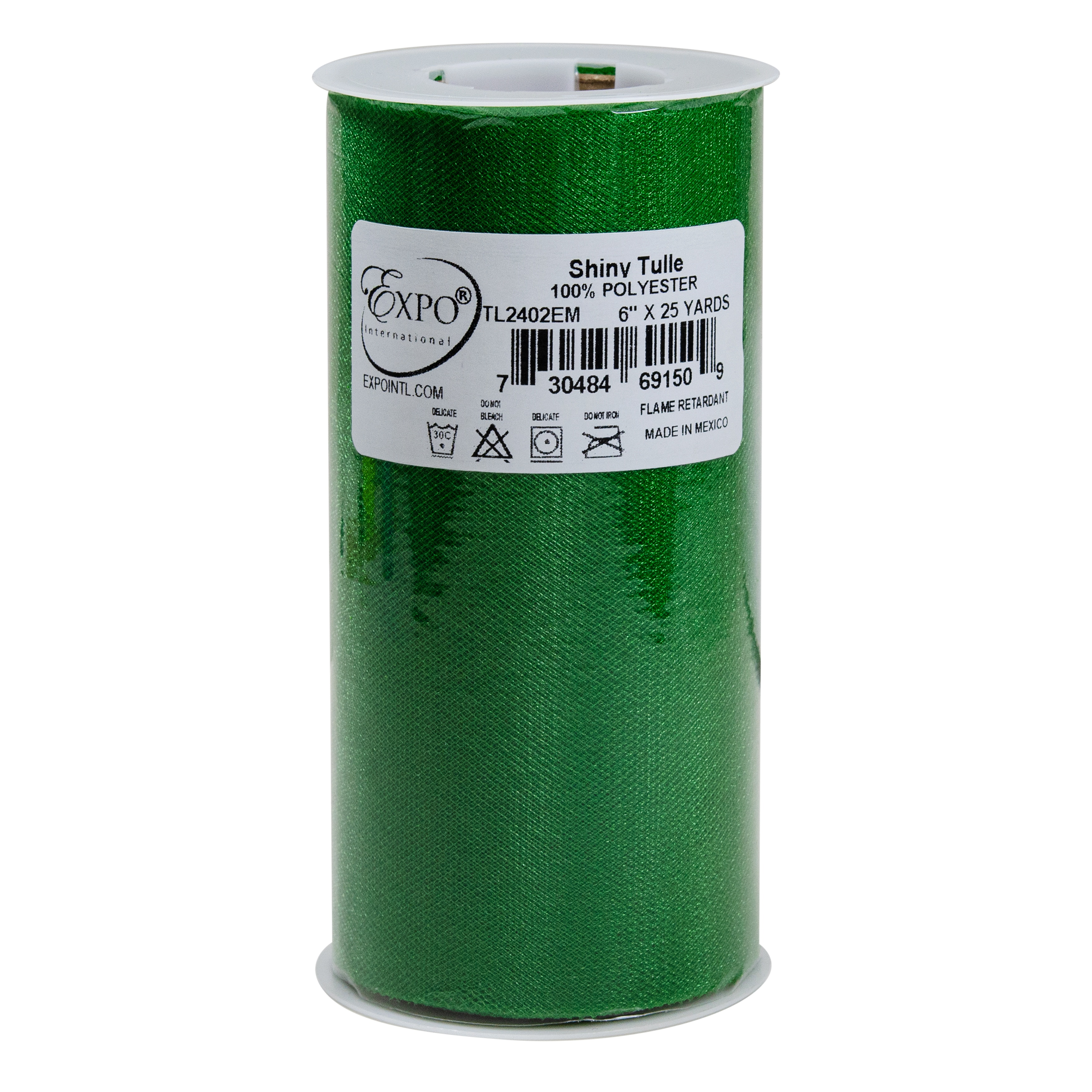 """Shiny Tulle 6"""" Wide 25yd Spool-Emerald"""