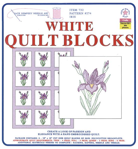 """Stamped White Quilt Blocks 18""""X18"""" 6/Pkg-Iris"""