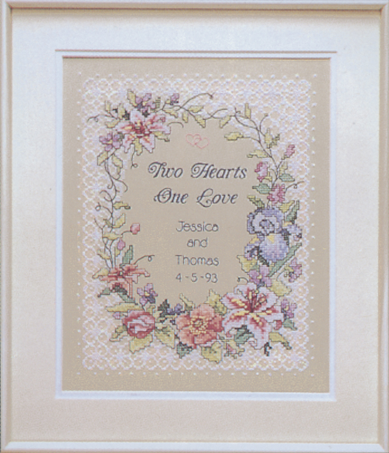 """Two Hearts Wedding Record Stamped Cross Stitch Kit-11""""X14"""""""