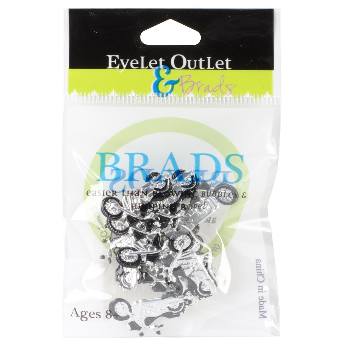 Eyelet Outlet Shape Brads 12/Pkg-Motorcycles