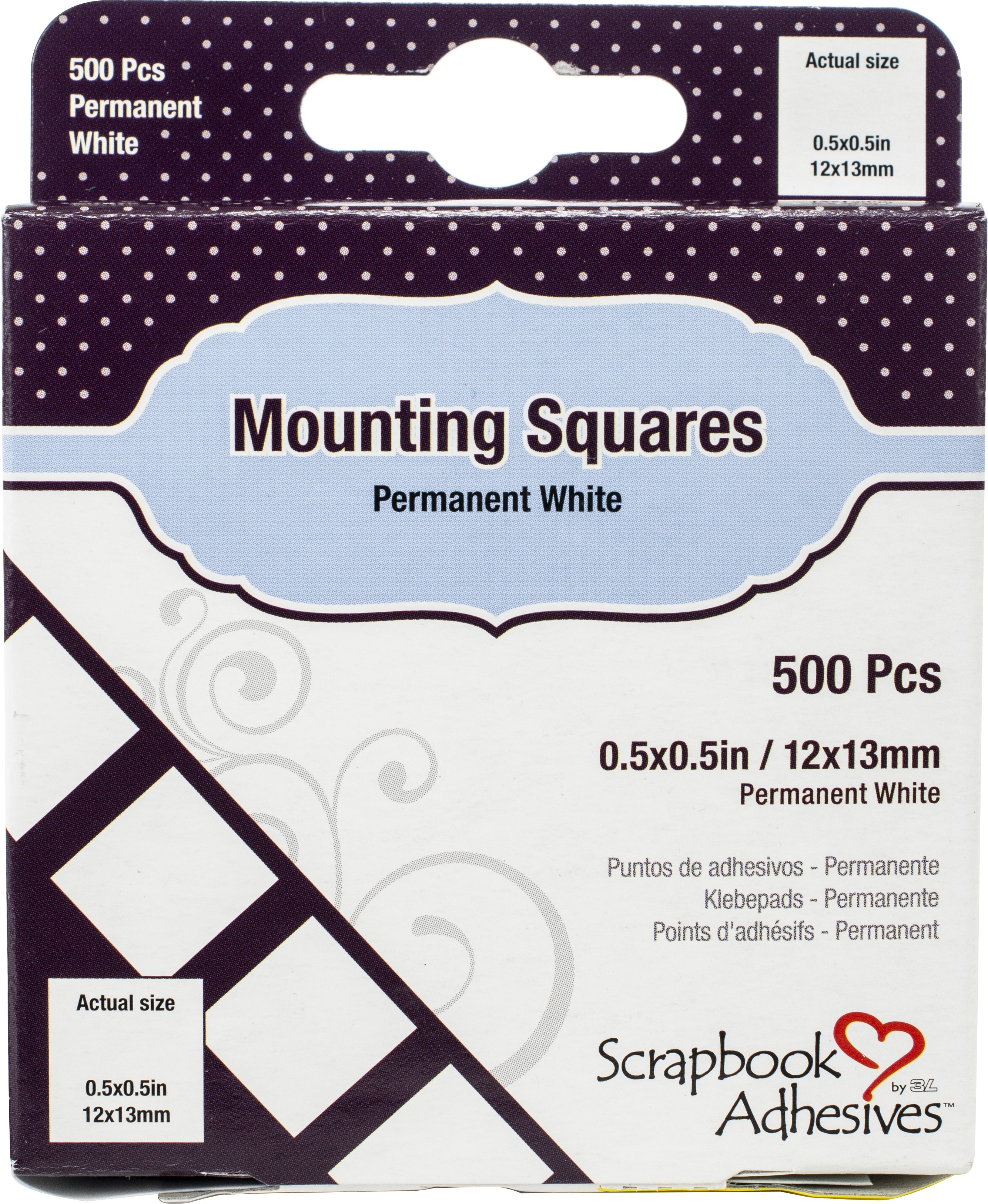"Scrapbook Adhesives Mounting Squares 500/Pkg-Permanent, White, .5""X.5"""