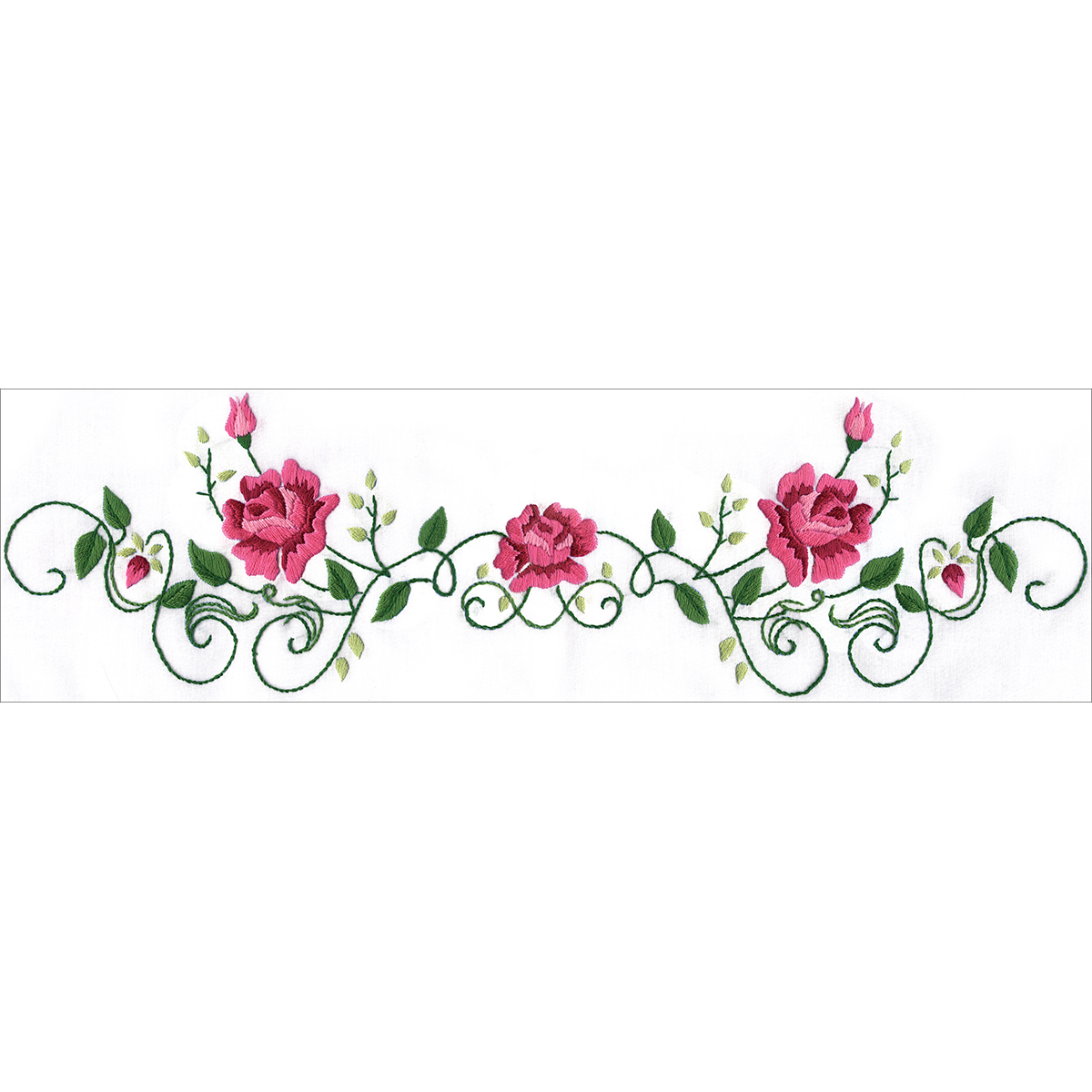 Stamped Pillowcase Pair For Embroidery 20x30-Rose Classic