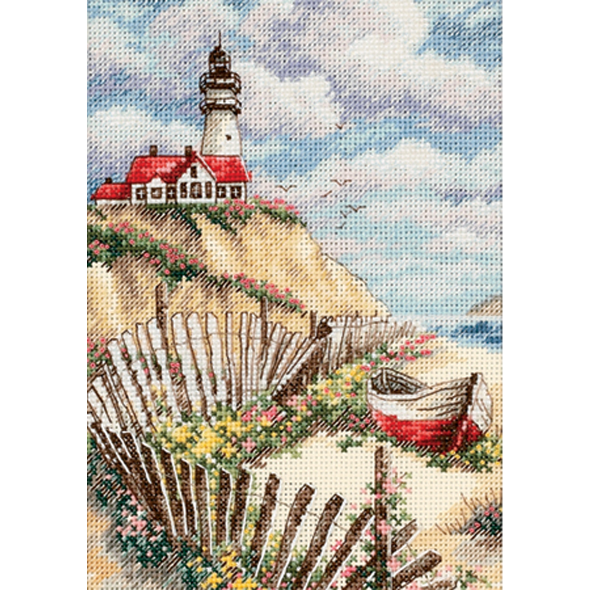 """Gold Petite Cliffside Beacon Counted Cross Stitch Kit-5""""X7"""" 18 Count"""