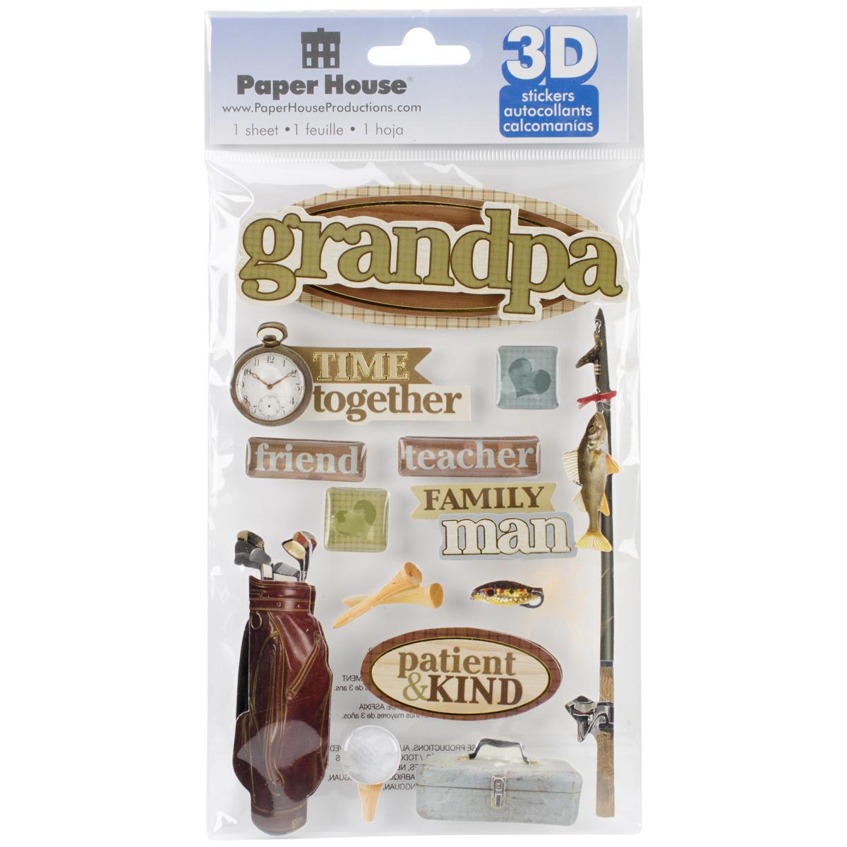 """Paper House 3D Stickers 4.5""""x8.5""""-Grandpa"""