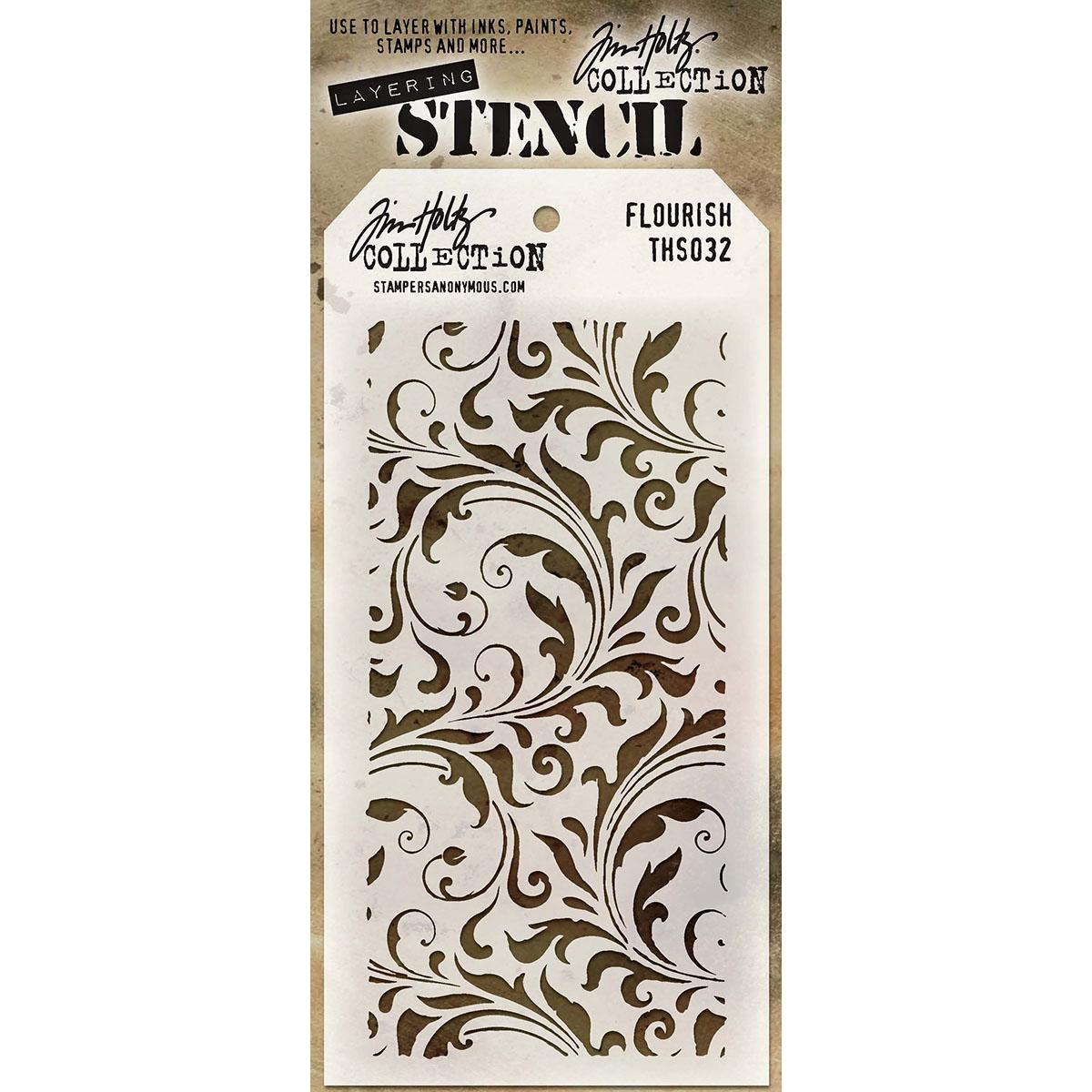 "Tim Holtz Layered Stencil 4.125""X8.5""-Flourish"