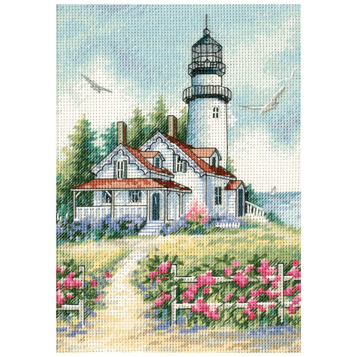 "Gold Petite Scenic Lighthouse Counted Cross Stitch Kit-5""X7"" 18 Count"