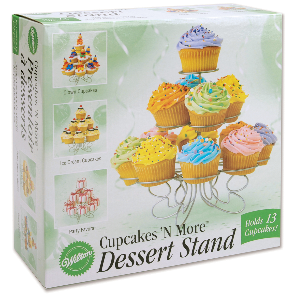 """Cupcakes 'N More Small Dessert Stand-Silver 10""""X9"""" Holds 13 Cupcakes"""