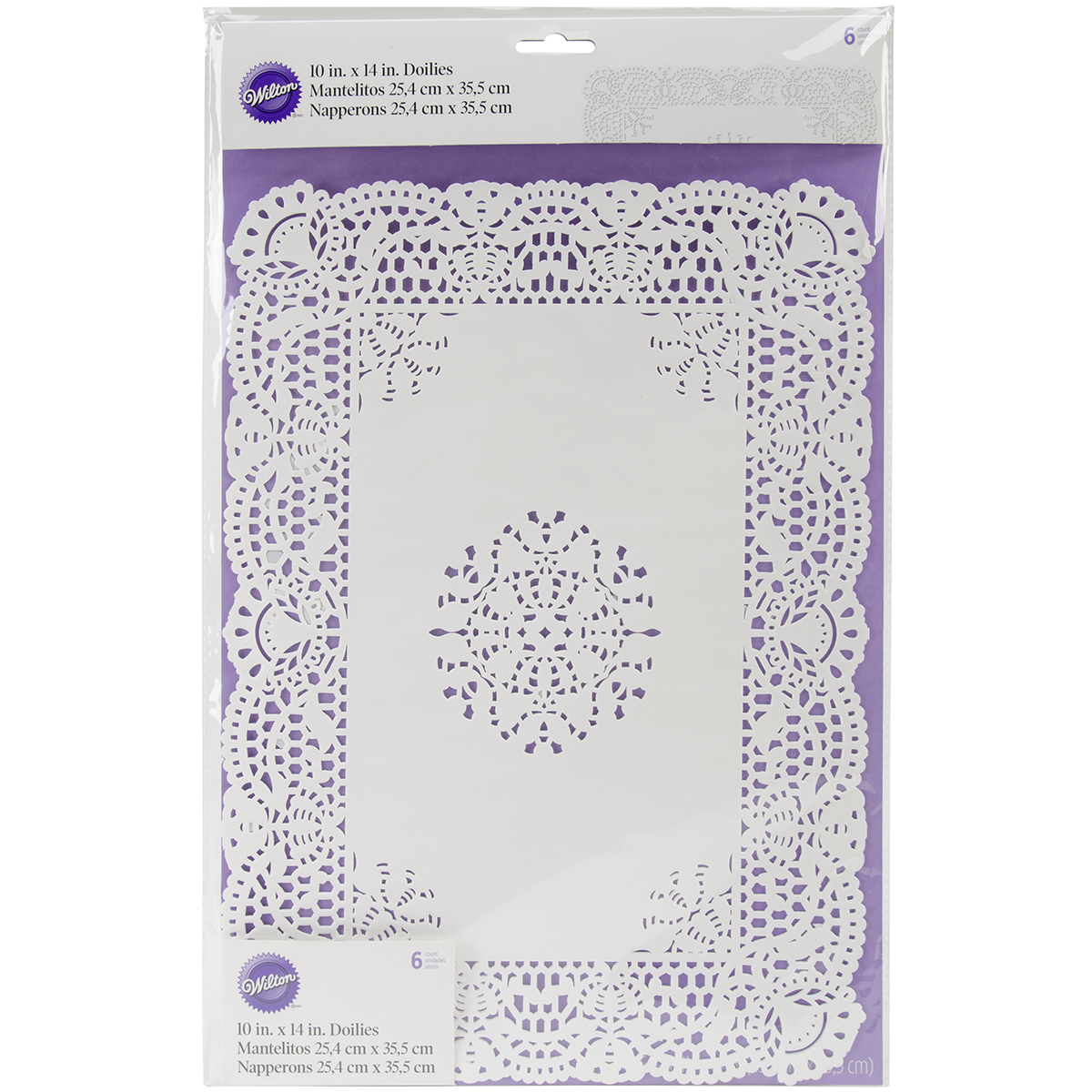 """Greaseproof Doilies-10""""X14"""" Rectangle White 6/Pkg"""