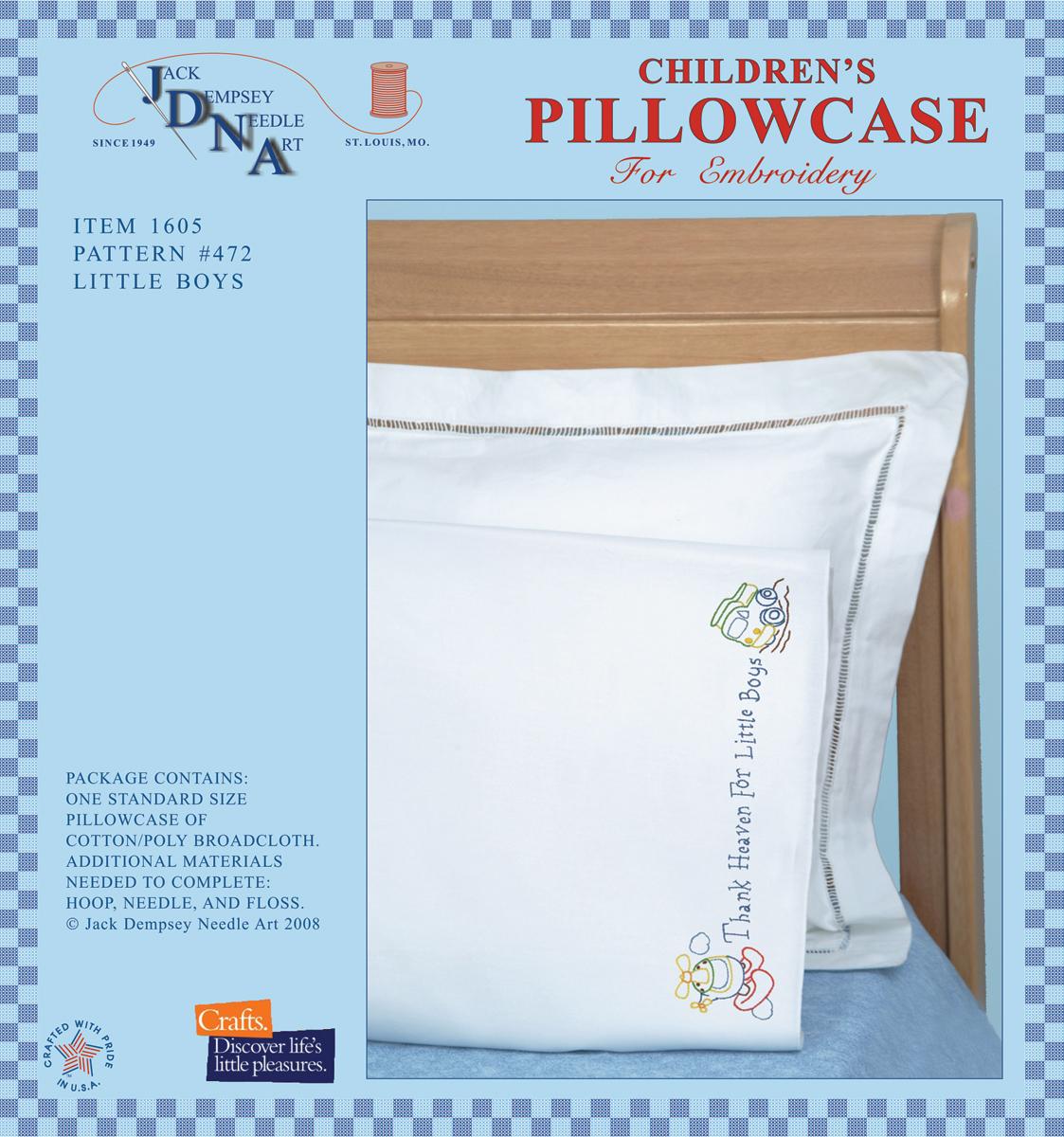 Children-039-s-Stamped-Pillowcase-W-White-Perle-Edge-1-Pkg-Little-Boys