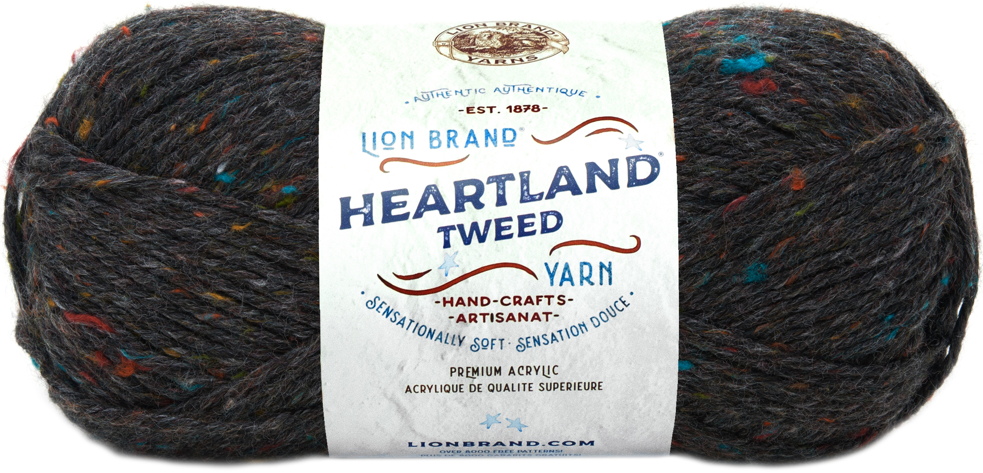 Lion Brand Yarn 136-353 Heartland Yarn Black Canyon Tweed Pack of 3 skeins
