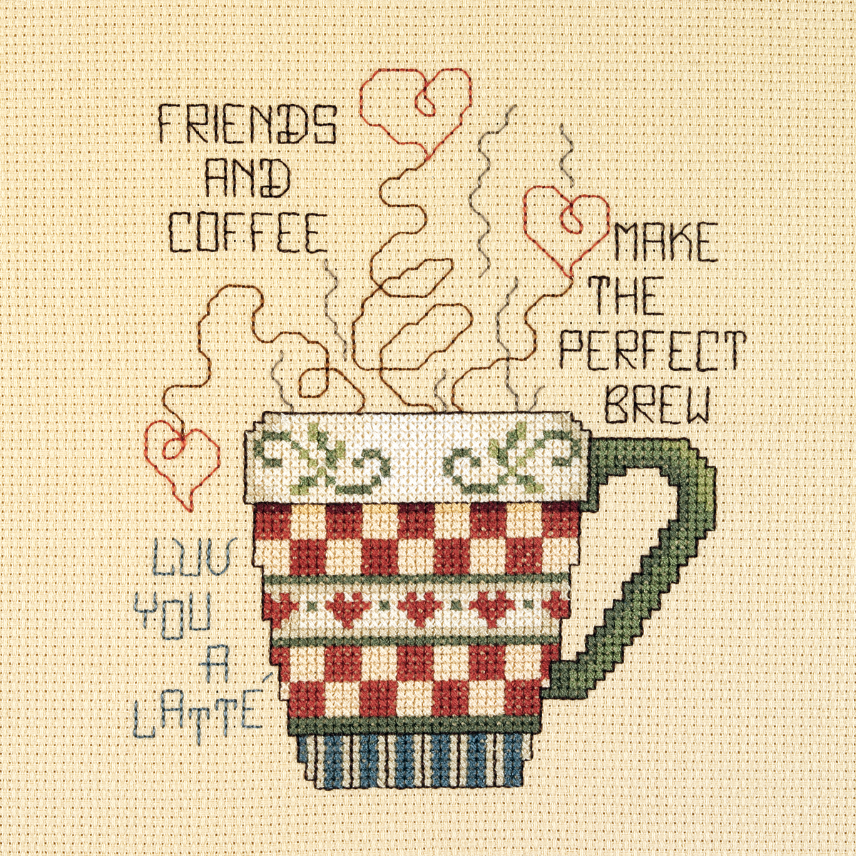 "Friends And Coffee Mini Counted Cross Stitch Kit-5""X6"" 14 Count"