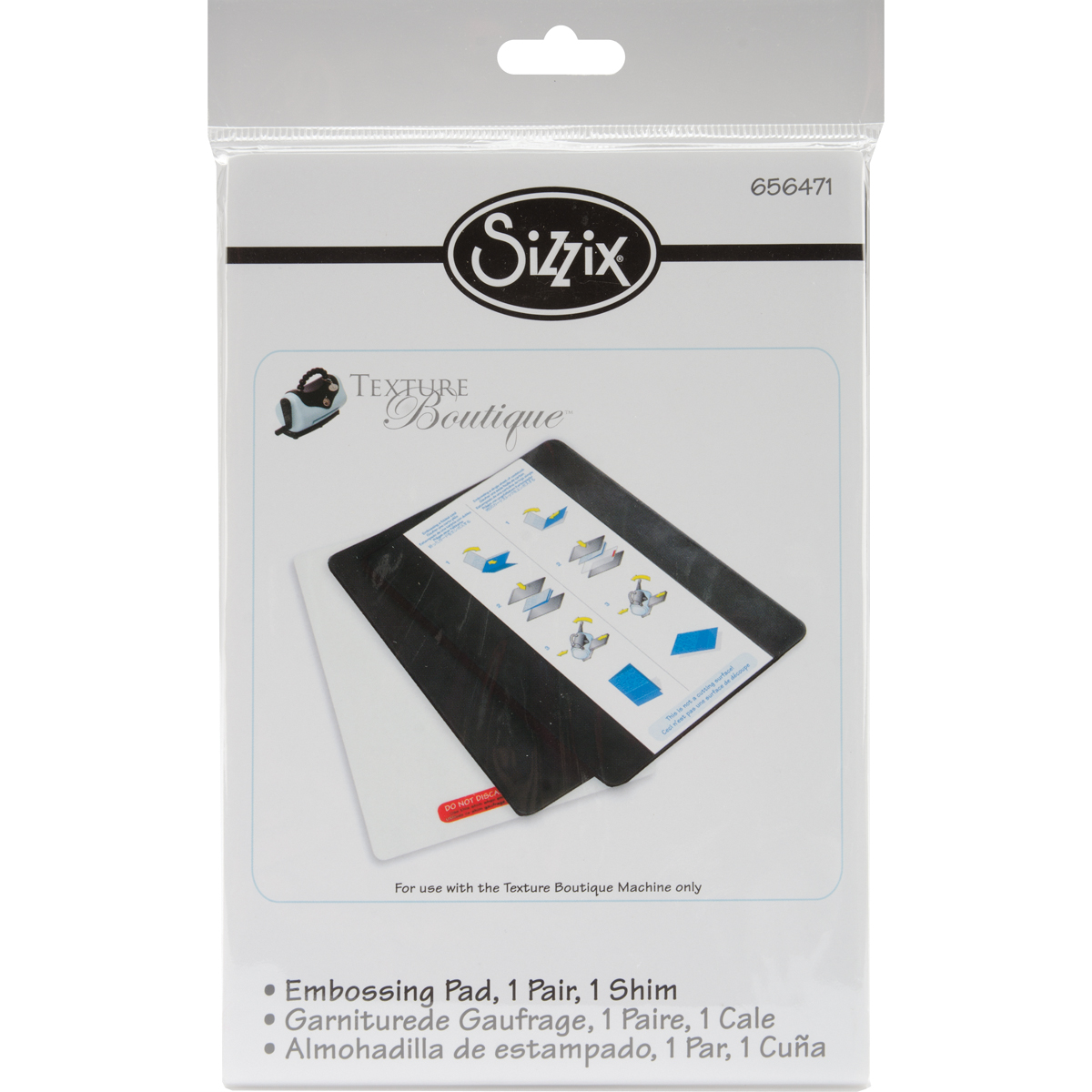 Sizzix Texture Boutique Embossing Pads-1 Pair W/Mylar Shim