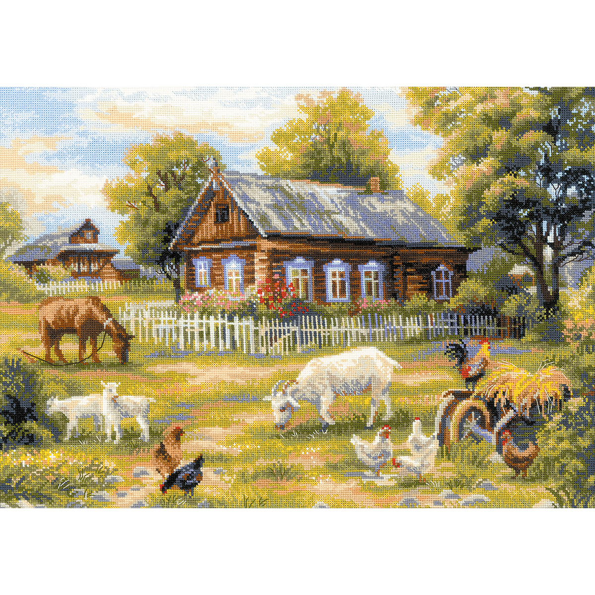 "Afternoon In The Country Counted Cross Stitch Kit19.75""X13.75"" 14 Count R1501"