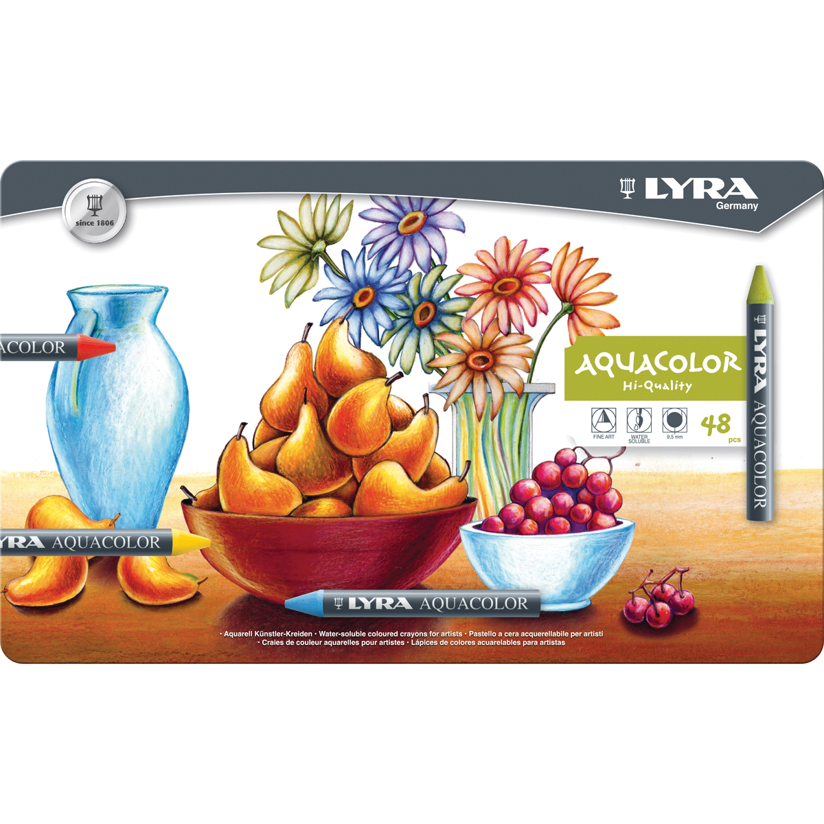 Lyra Aquacolor Water-Soluble Crayons 48/Pkg-Assorted Colors