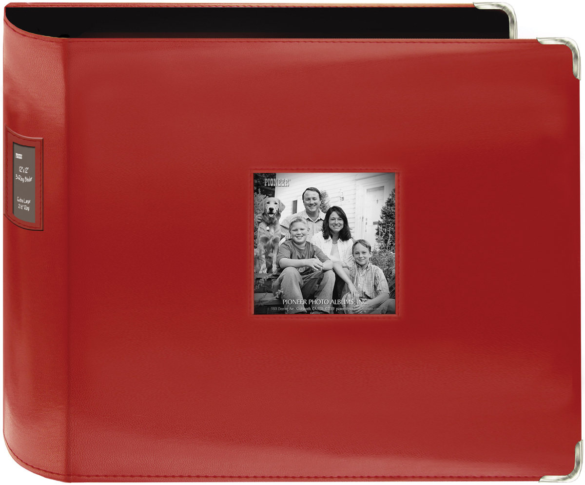Pioneer-3-Ring-Sewn-Leatherette-Album-12-034-X12-034-Red