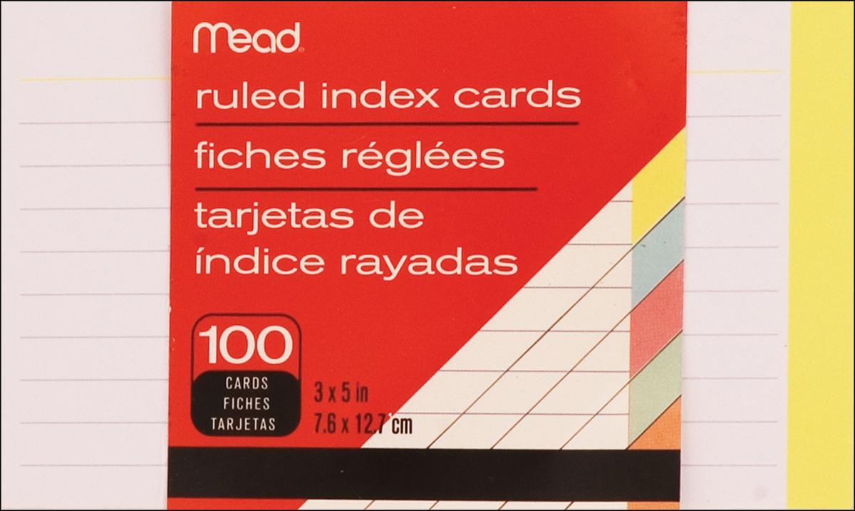 """Index Cards 3""""X5"""" 100/Pkg-Ruled Assorted Colors"""
