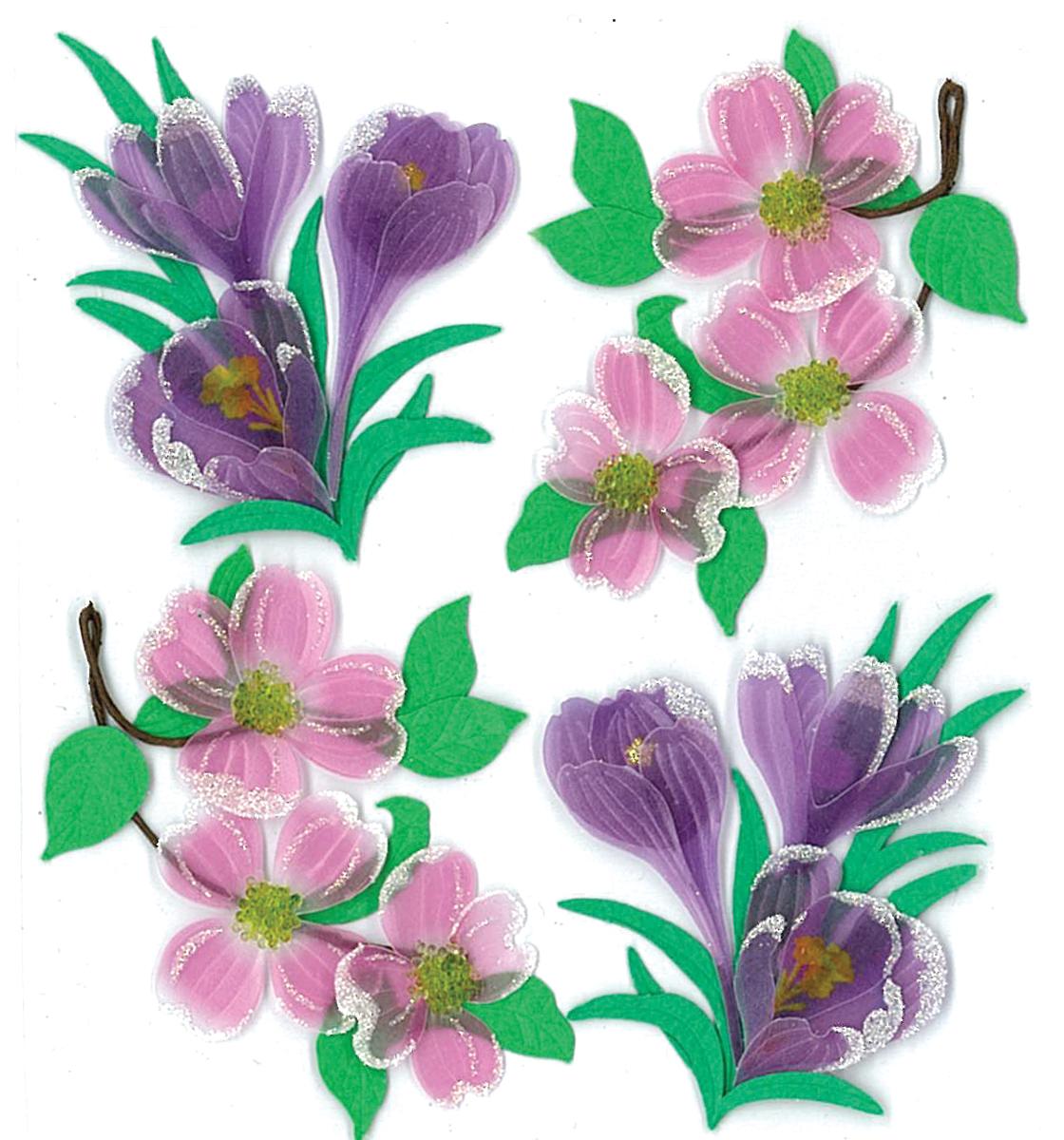 Jolee's Boutique Dimensional Stickers-Dogwood & Crocus Flowers