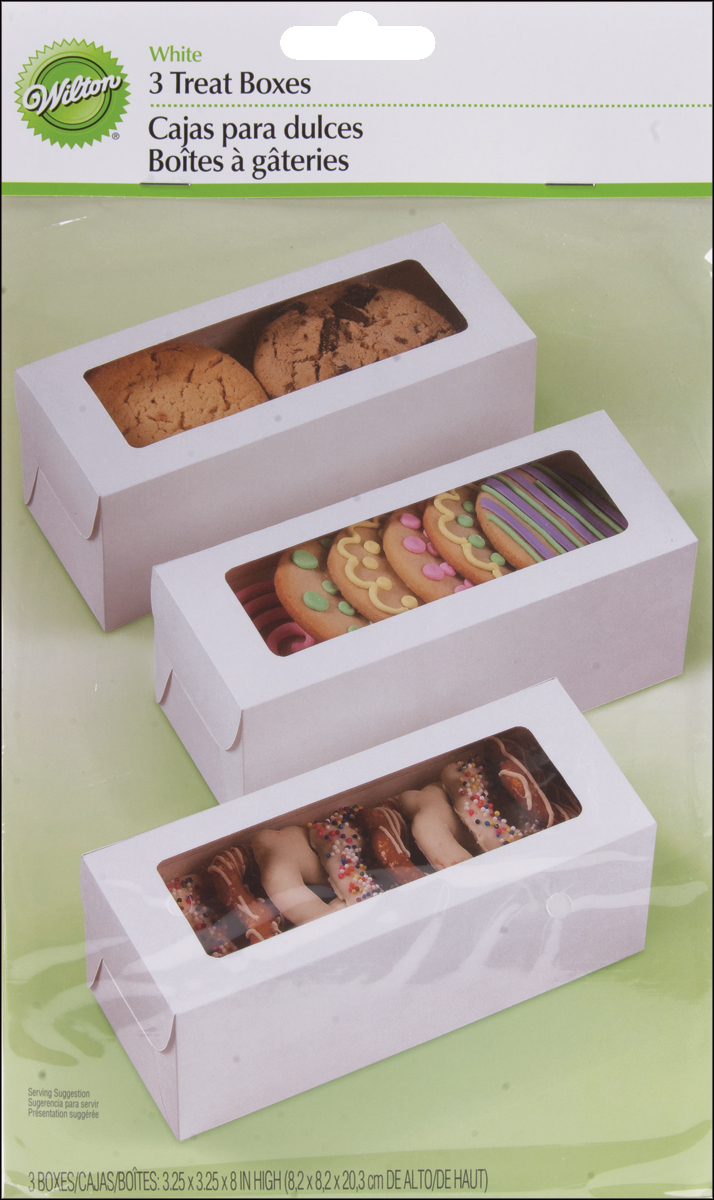 "Treat Boxes-White 8""X3.25""X3.25"" 3/Pkg"