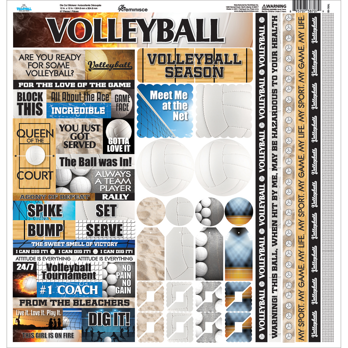 Volleyball-Cardstock-Sticker-12-034-X12-034